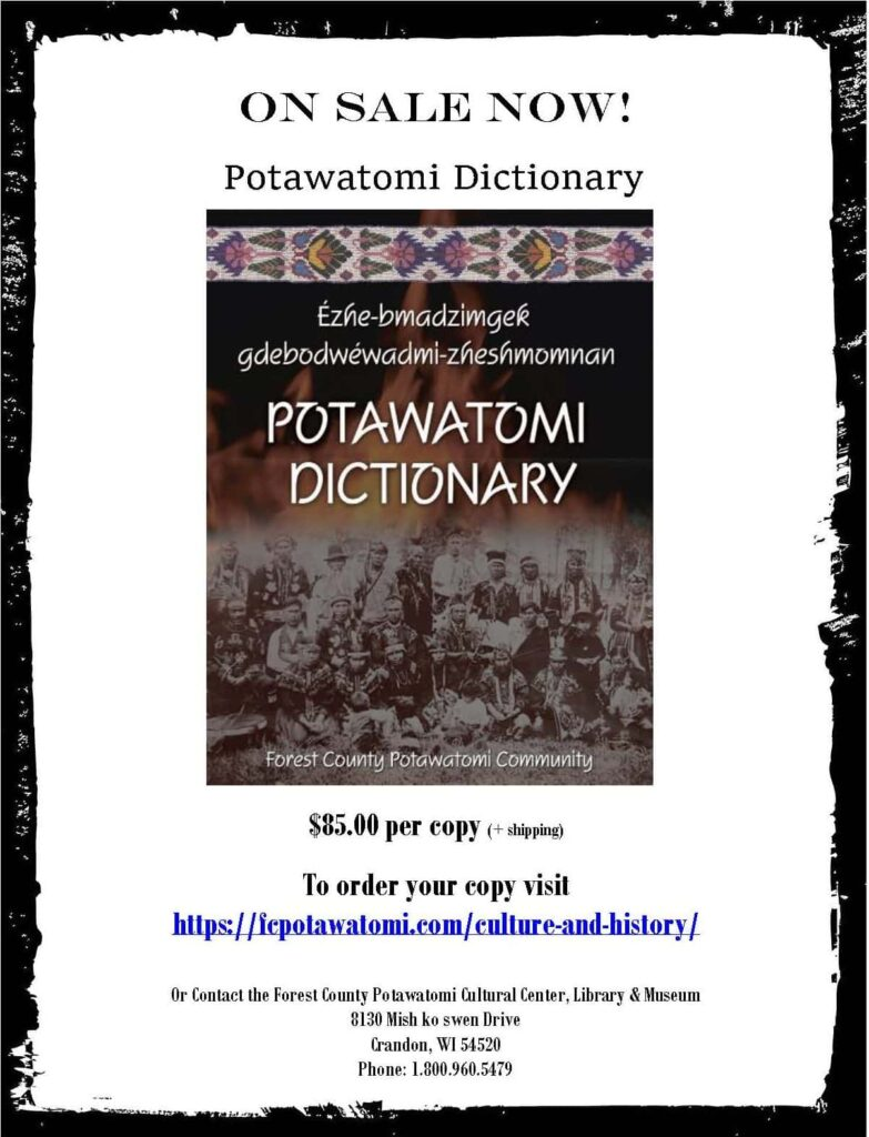 Potawatomi Dictionary Sale Flyer-Ad