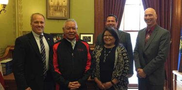 "(l-r) Wisconsin Attorney General Brad Schimel, FCP Chairman Harold ""Gus"" Frank, Tribal Secretary Lorna Shawano, former Executive Council Member James Crawford and Deputy Attorney General Aaron Loomis"