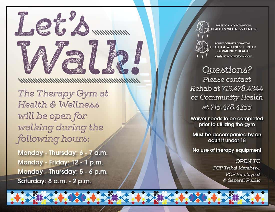 let s walk health wellness therapy gym forest county potawatomi